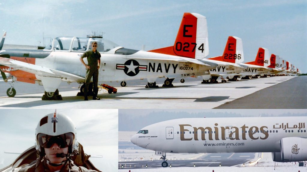 Kollasj med tre bilder fra kaptein Rosenlunds karriere som pilot